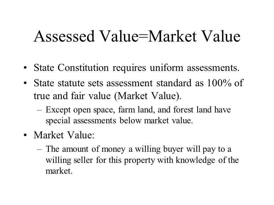 Assessed Value=Market Value