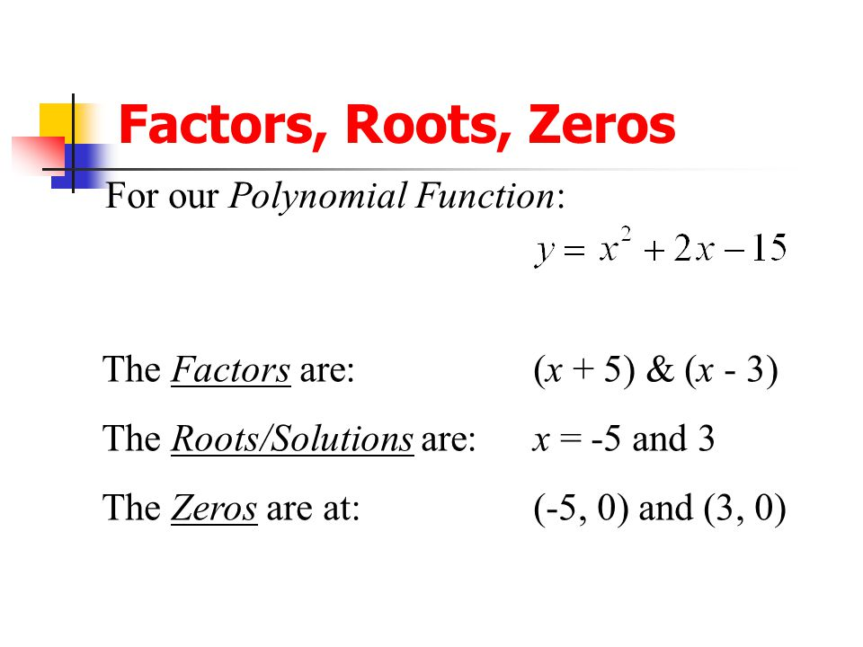 Factors, Roots, Zeros For our Polynomial Function: