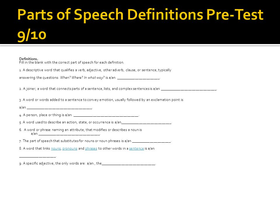 Parts of Speech Definitions Pre-Test 9/10