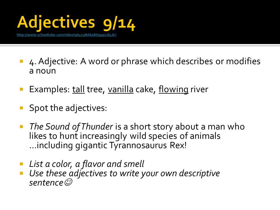 Adjectives 9/14 http://www.schooltube.com/video/964198d6a8d99911f4dc/