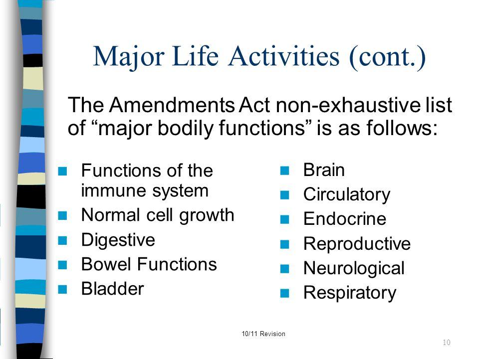 Major Life Activities (cont.)