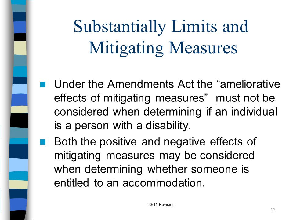 Substantially Limits and Mitigating Measures