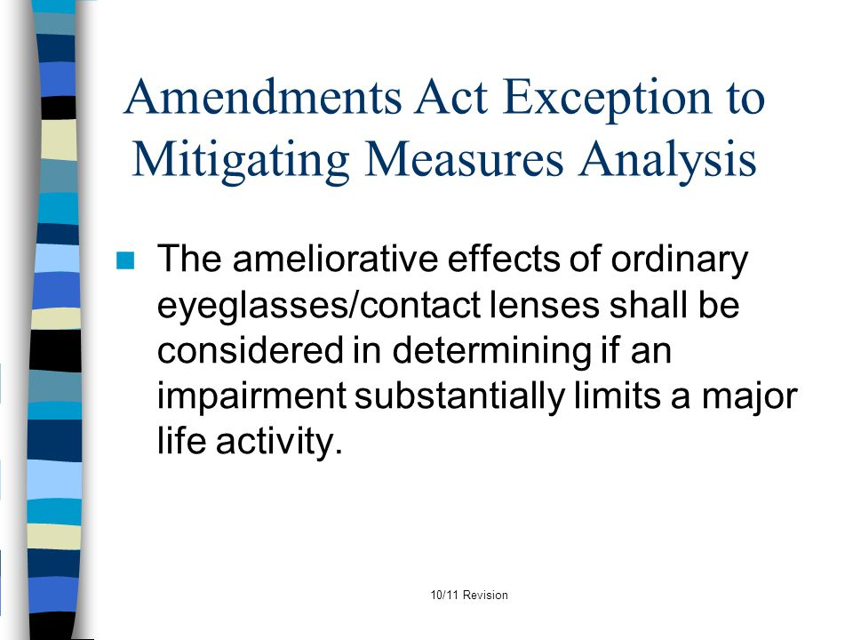 Amendments Act Exception to Mitigating Measures Analysis