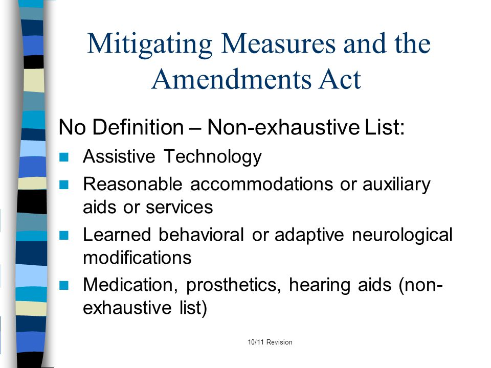 Mitigating Measures and the Amendments Act