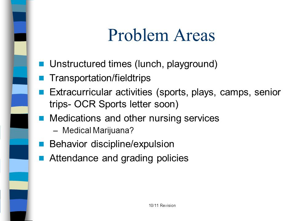 Problem Areas Unstructured times (lunch, playground)