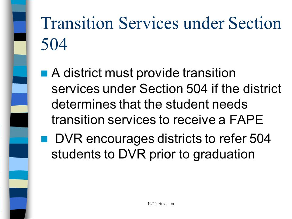 Transition Services under Section 504
