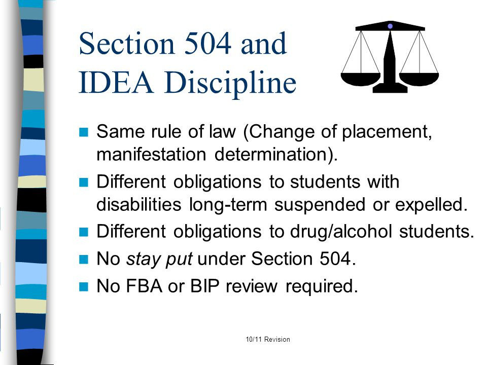Section 504 and IDEA Discipline