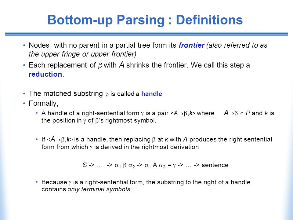 Bottom-up Parsing : Definitions