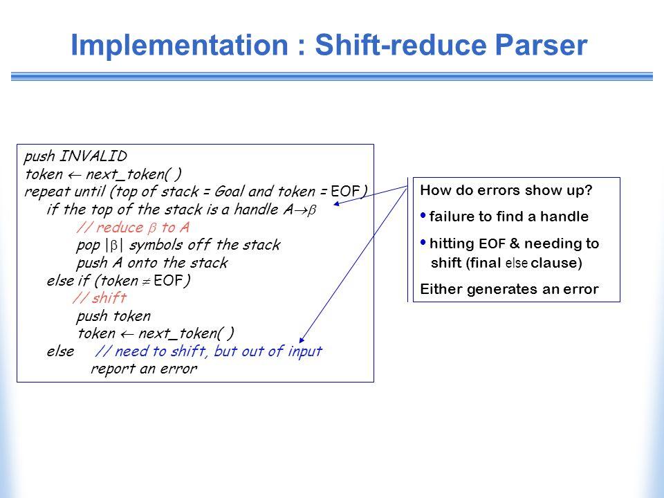 Implementation : Shift-reduce Parser