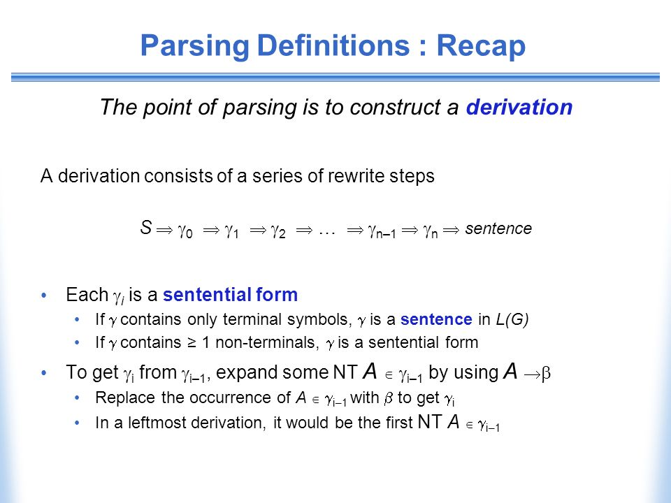 Parsing Definitions : Recap