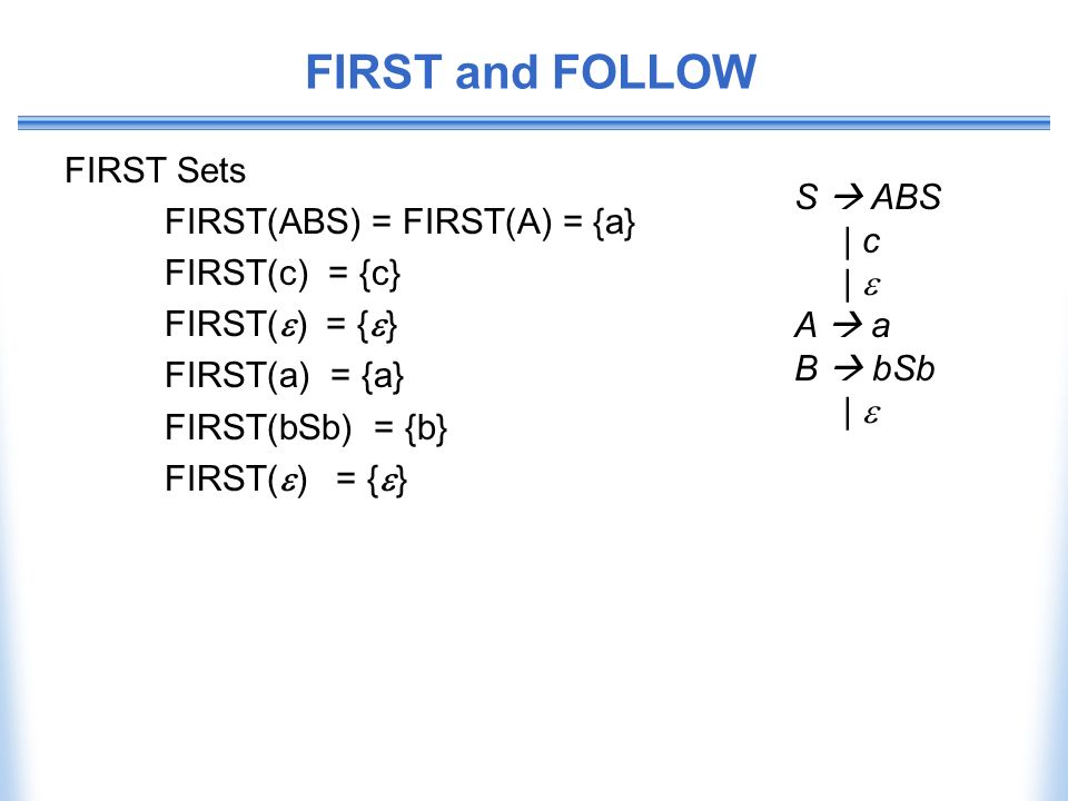 FIRST and FOLLOW FIRST Sets FIRST(ABS) = FIRST(A) = {a} S  ABS