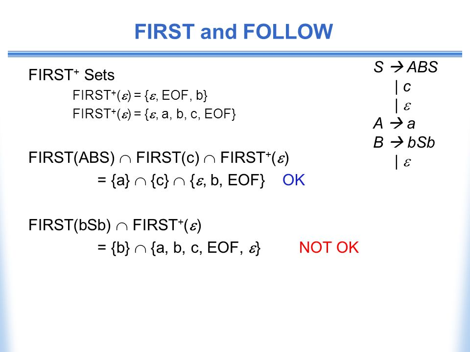 FIRST and FOLLOW S  ABS FIRST+ Sets | c |  A  a B  bSb