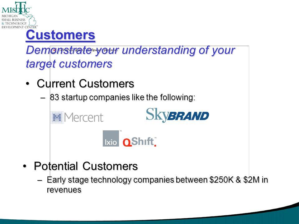 Customers Demonstrate your understanding of your target customers