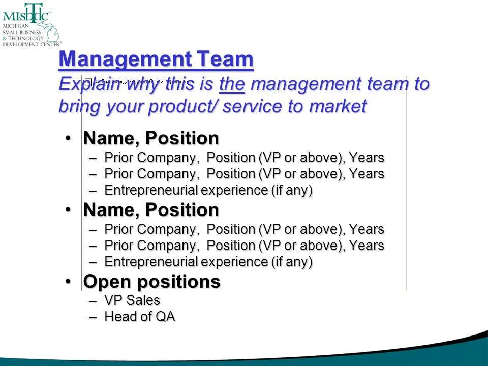 Management Team Explain why this is the management team to bring your product/ service to market