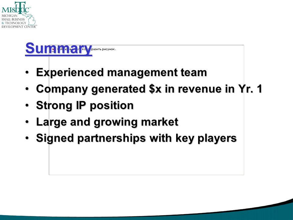 Summary Experienced management team