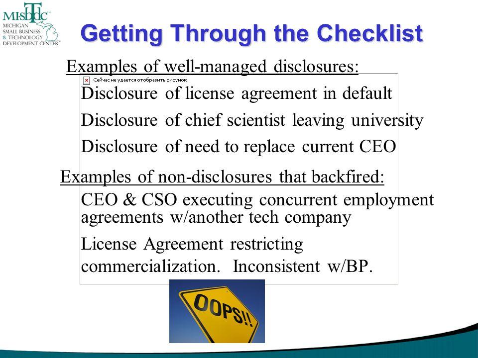 Getting Through the Checklist