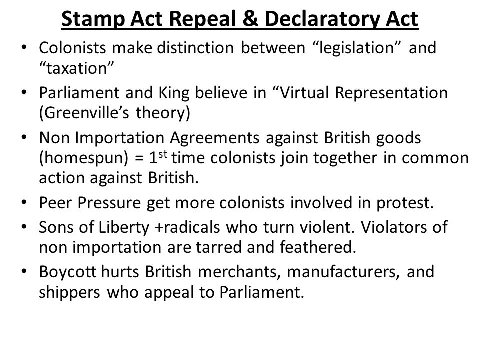 Stamp Act Repeal & Declaratory Act
