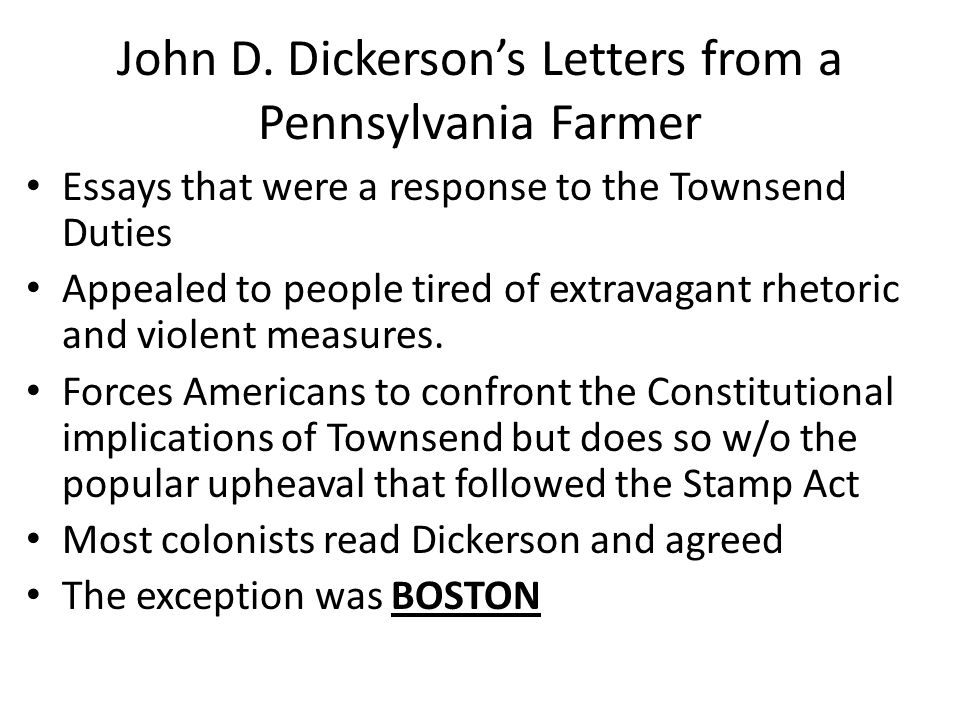 John D. Dickerson's Letters from a Pennsylvania Farmer