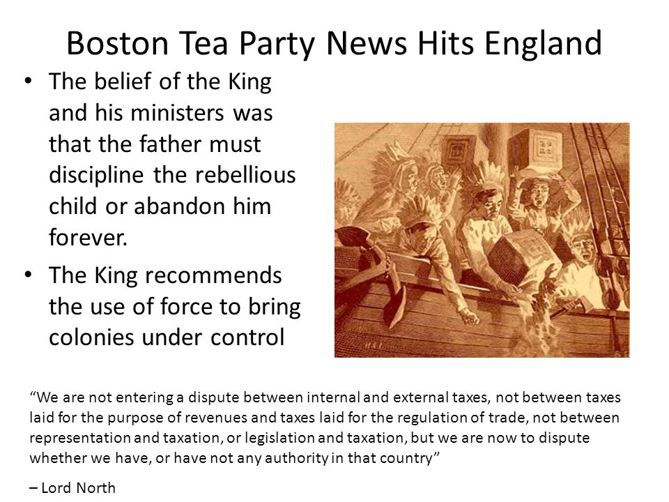Boston Tea Party News Hits England