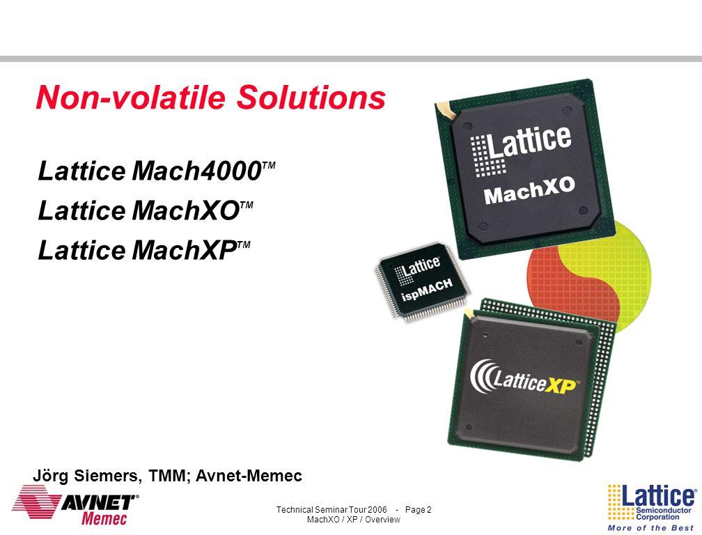 Lattice Mach4000TM Lattice MachXOTM Lattice MachXPTM