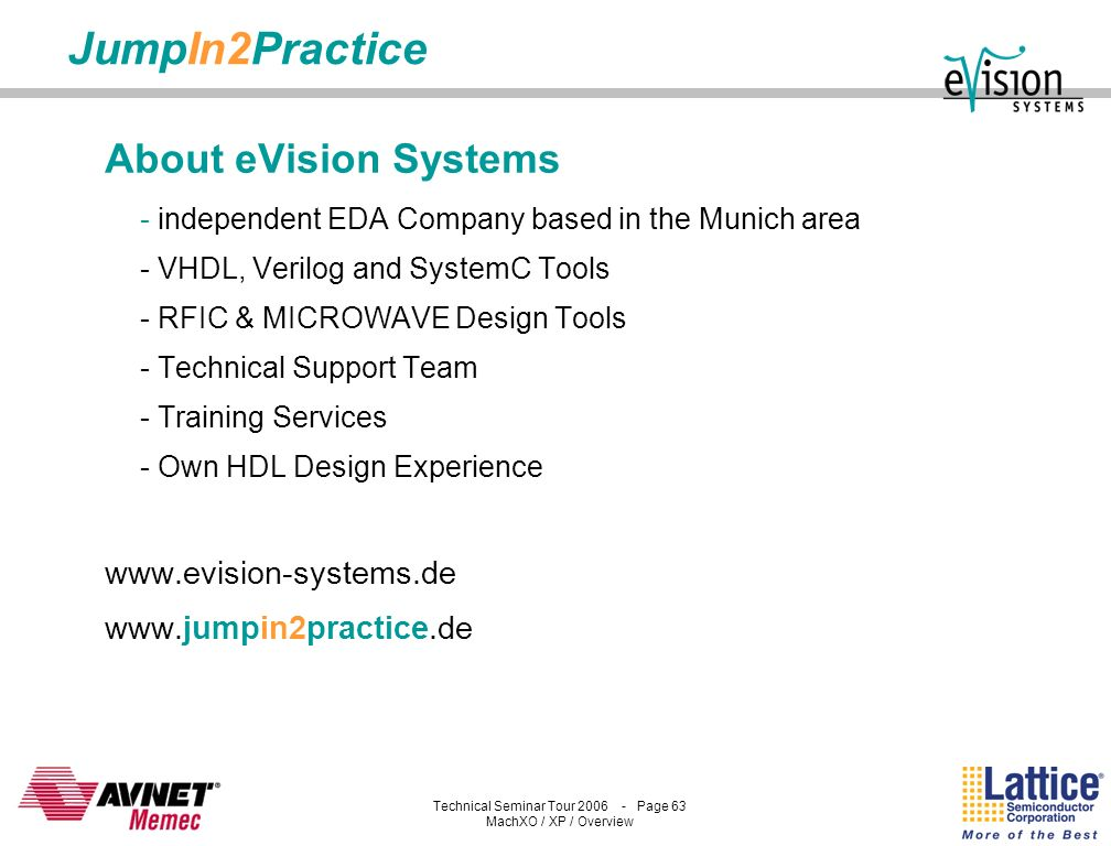 JumpIn2Practice About eVision Systems