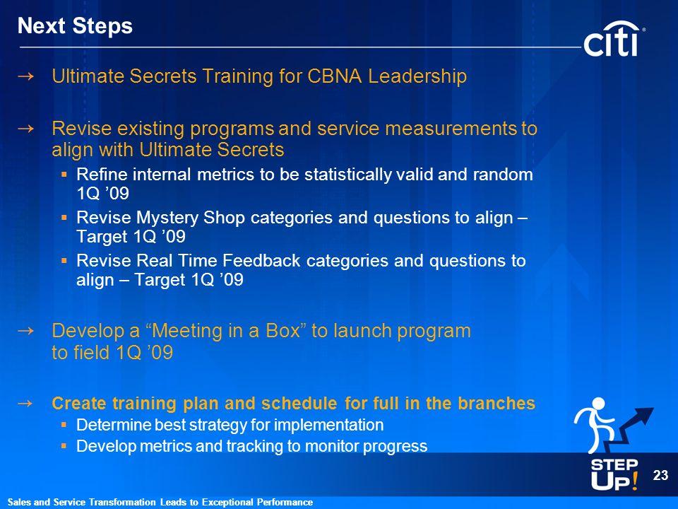 Next Steps Ultimate Secrets Training for CBNA Leadership