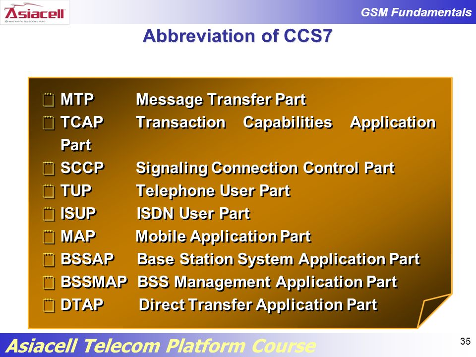 Abbreviation of CCS7 MTP Message Transfer Part