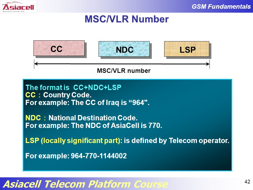 MSC/VLR Number CC NDC LSP The format is CC+NDC+LSP CC:Country Code.
