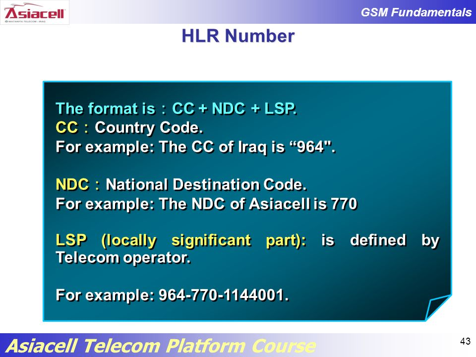 HLR Number The format is:CC + NDC + LSP. CC:Country Code.