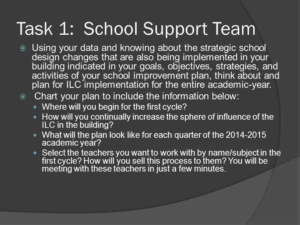 Task 1: School Support Team
