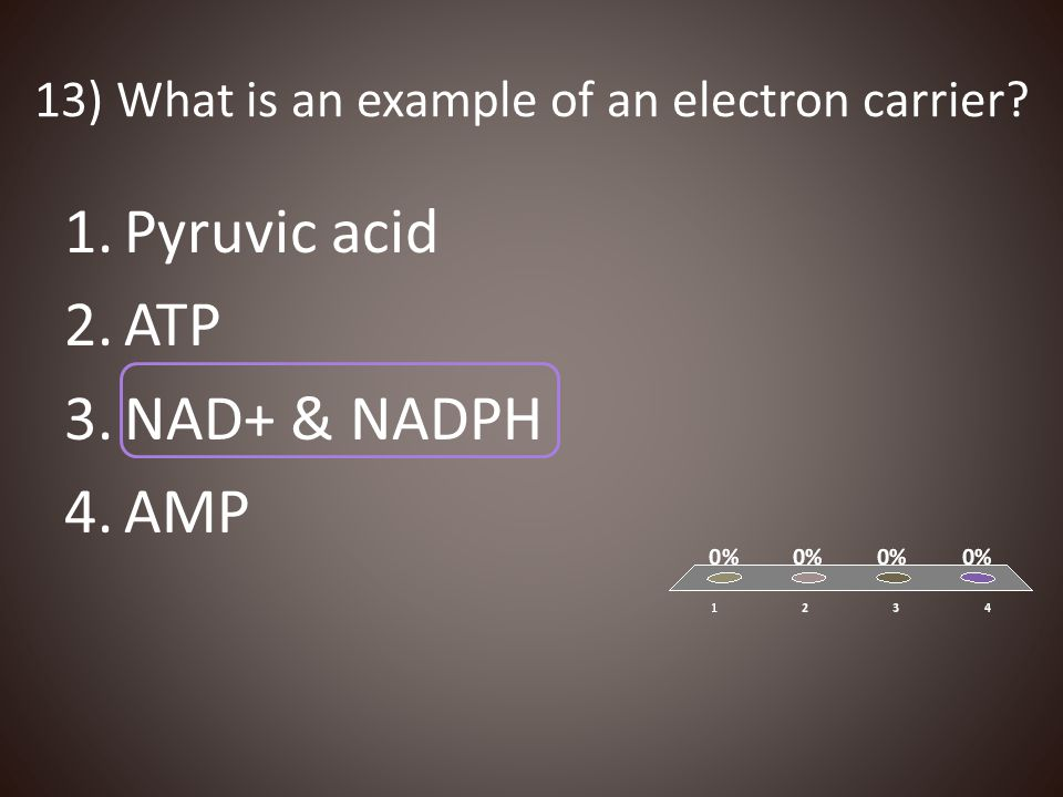 13) What is an example of an electron carrier