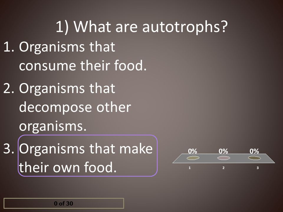 1) What are autotrophs Organisms that consume their food.