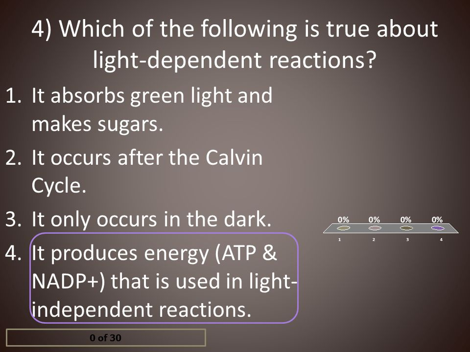 4) Which of the following is true about light-dependent reactions