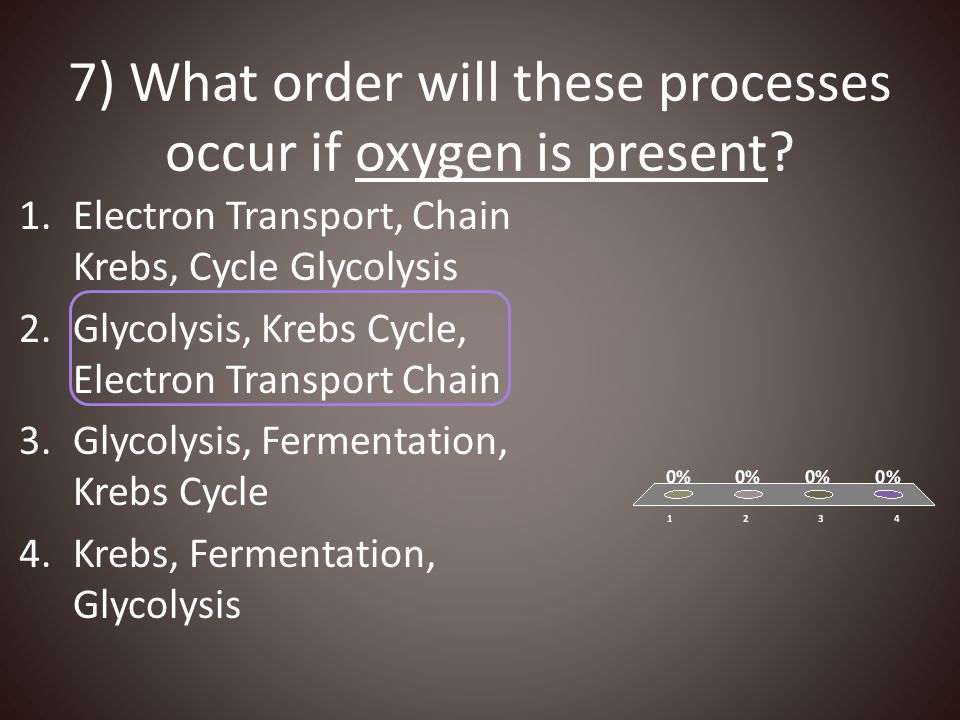7) What order will these processes occur if oxygen is present