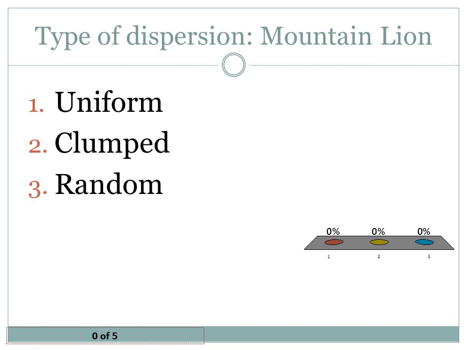 Type of dispersion: Mountain Lion