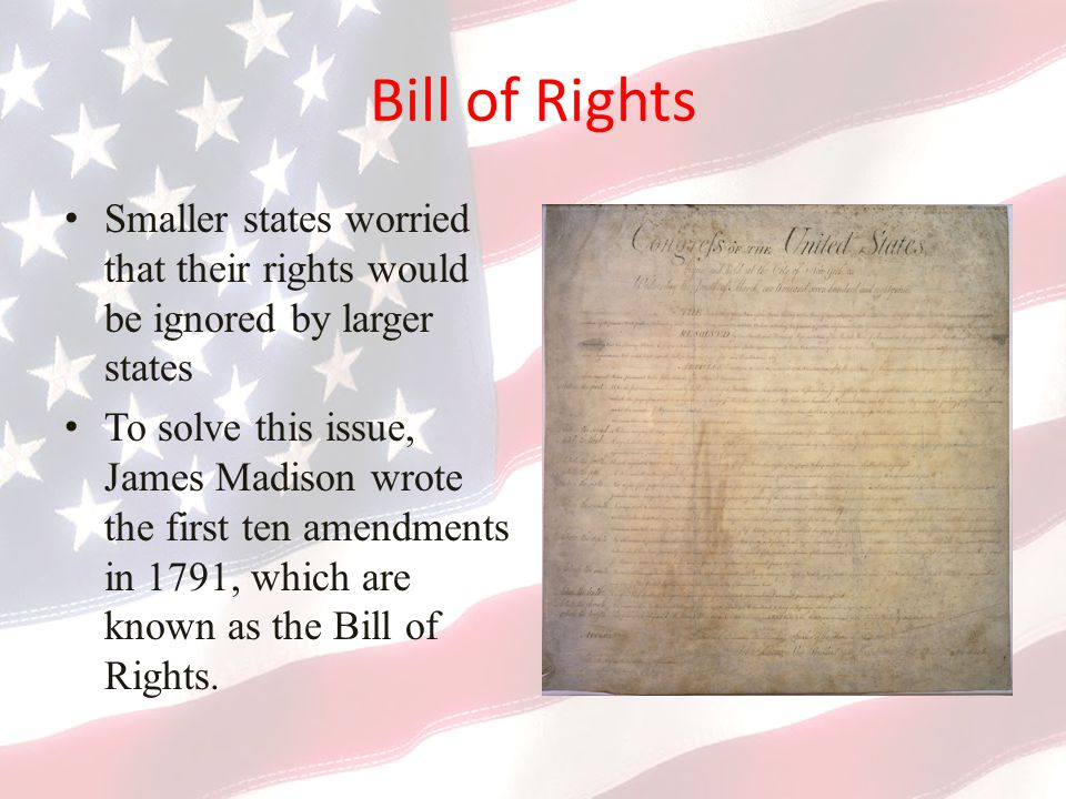 Bill of Rights Smaller states worried that their rights would be ignored by larger states.