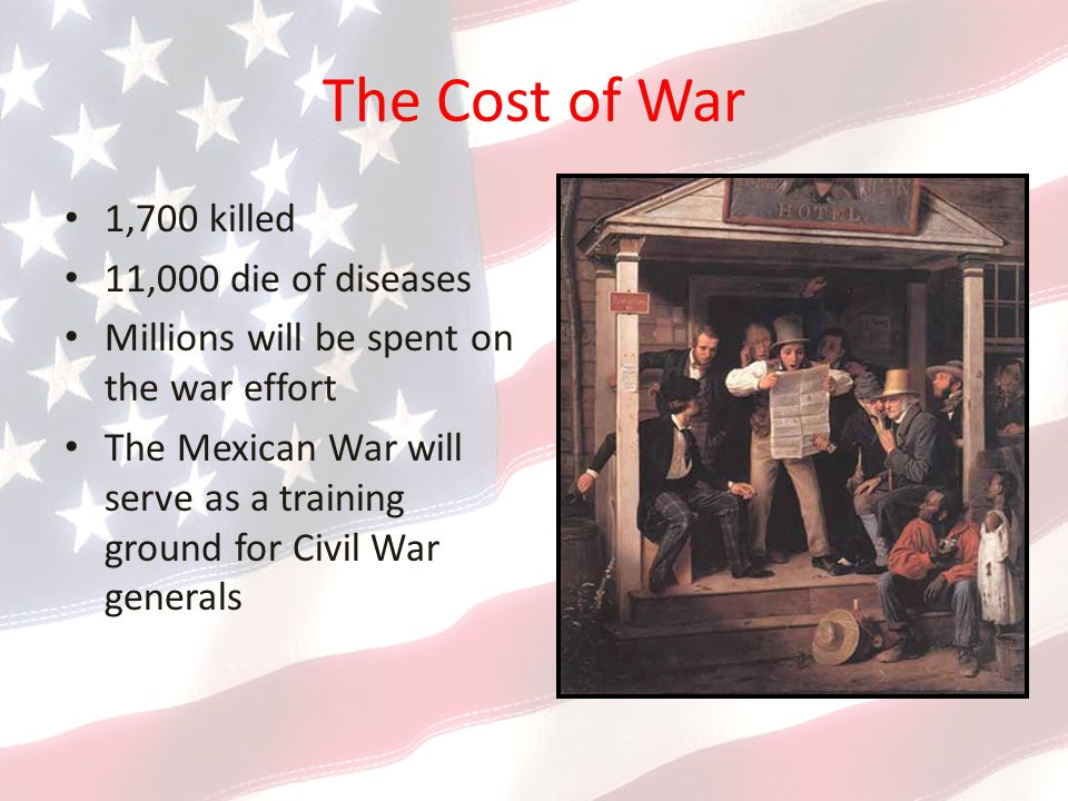 The Cost of War 1,700 killed 11,000 die of diseases