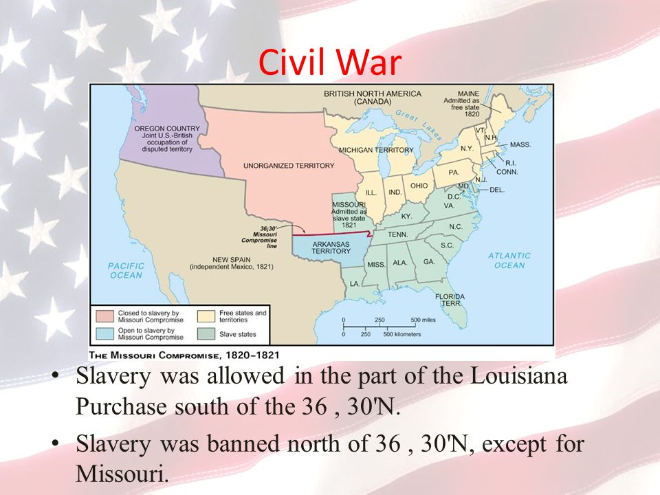 Civil War Slavery was allowed in the part of the Louisiana Purchase south of the 36 , 30 N.