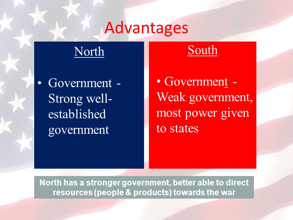 Advantages North South Government - Strong well-established government