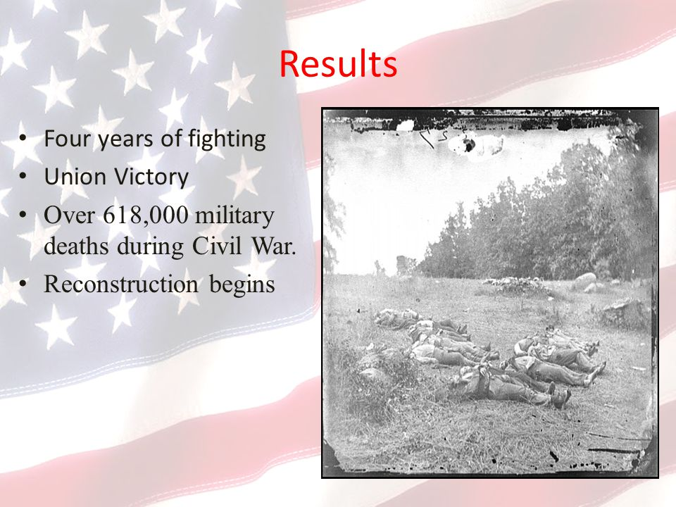 Results Four years of fighting Union Victory