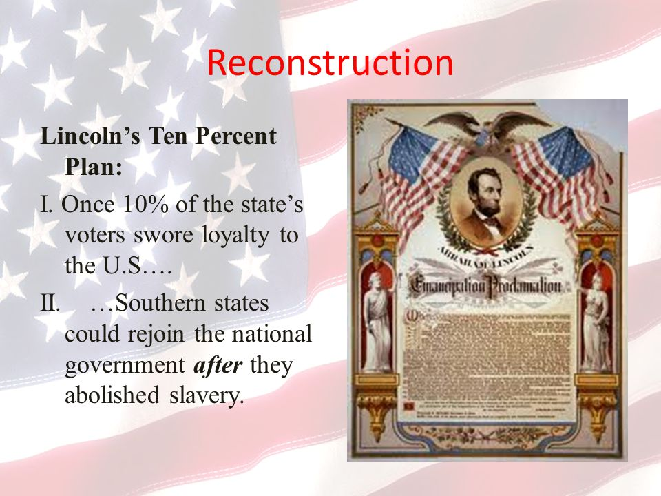 Reconstruction Lincoln's Ten Percent Plan: