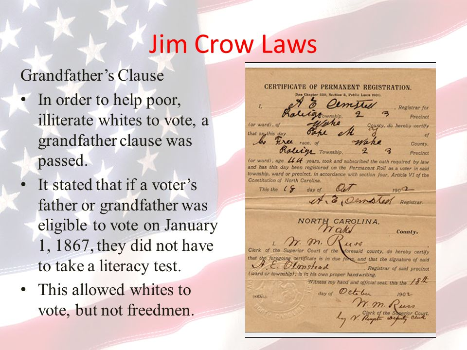 Jim Crow Laws Grandfather's Clause
