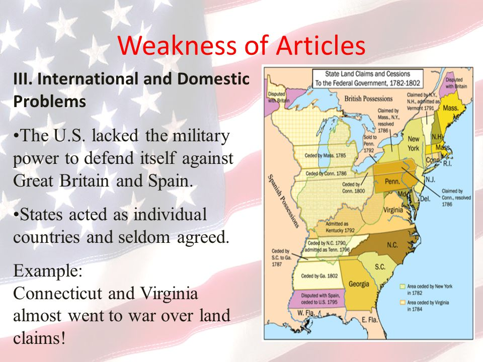 Weakness of Articles III. International and Domestic Problems