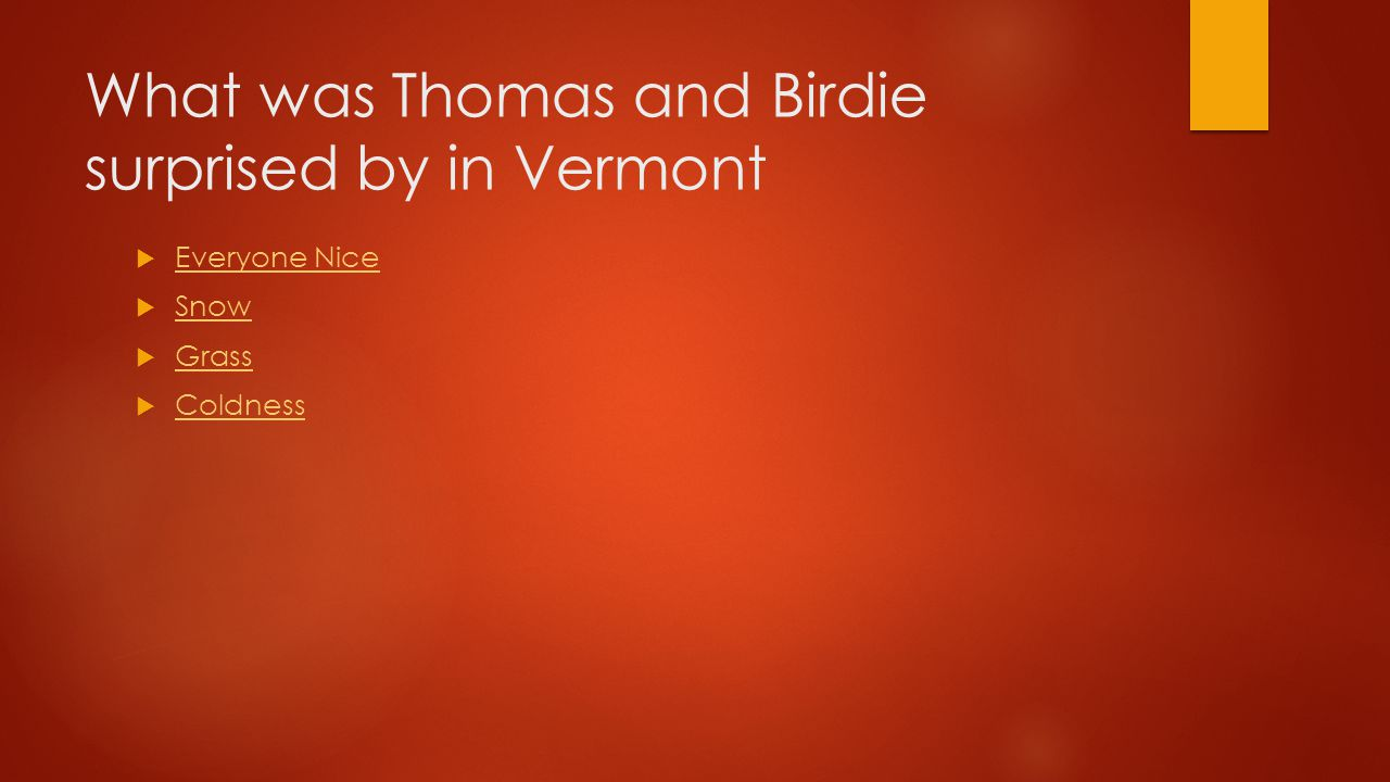 What was Thomas and Birdie surprised by in Vermont