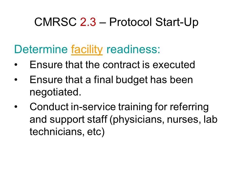 CMRSC 2.3 – Protocol Start-Up