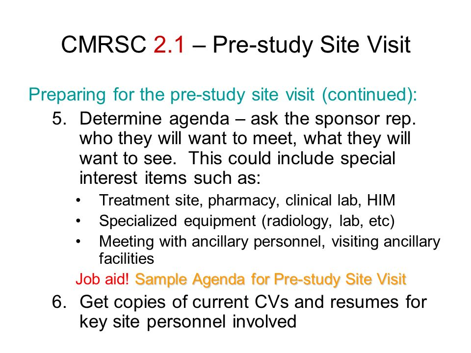 CMRSC 2.1 – Pre-study Site Visit