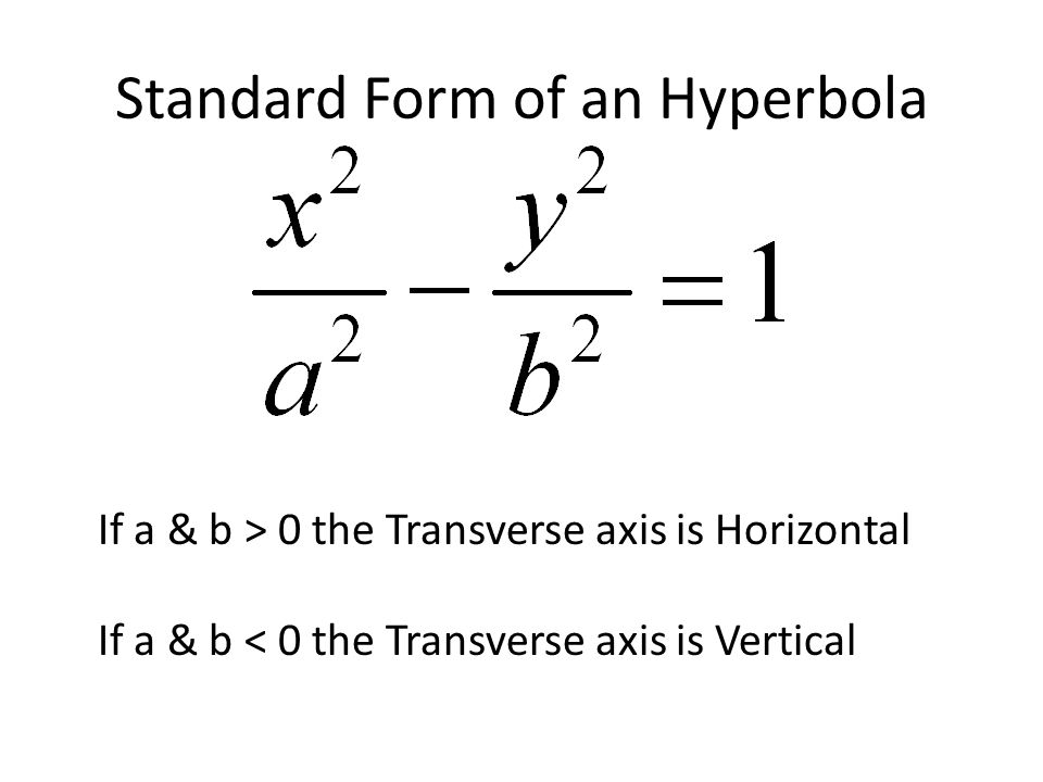 Standard Form of an Hyperbola