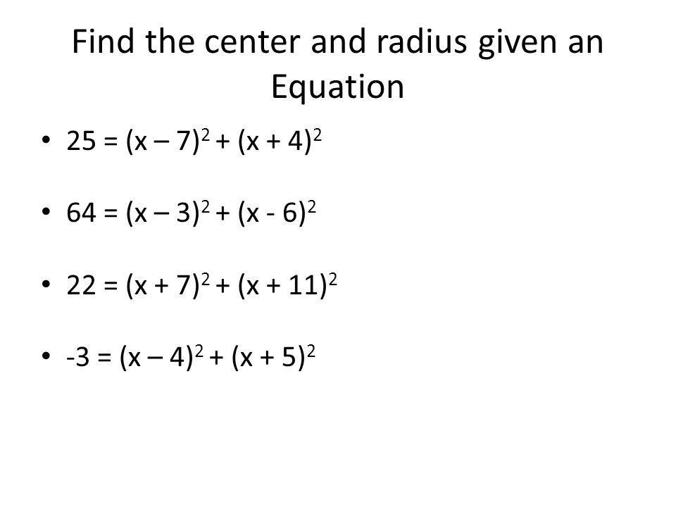 Find the center and radius given an Equation