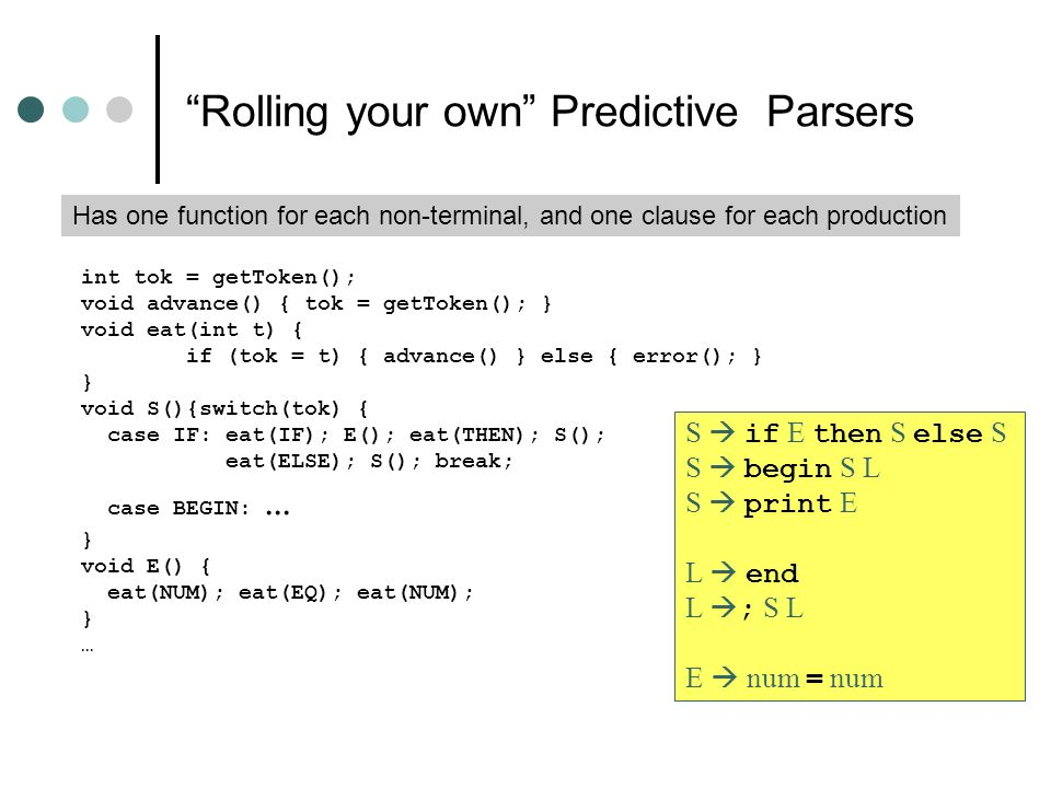 Rolling your own Predictive Parsers