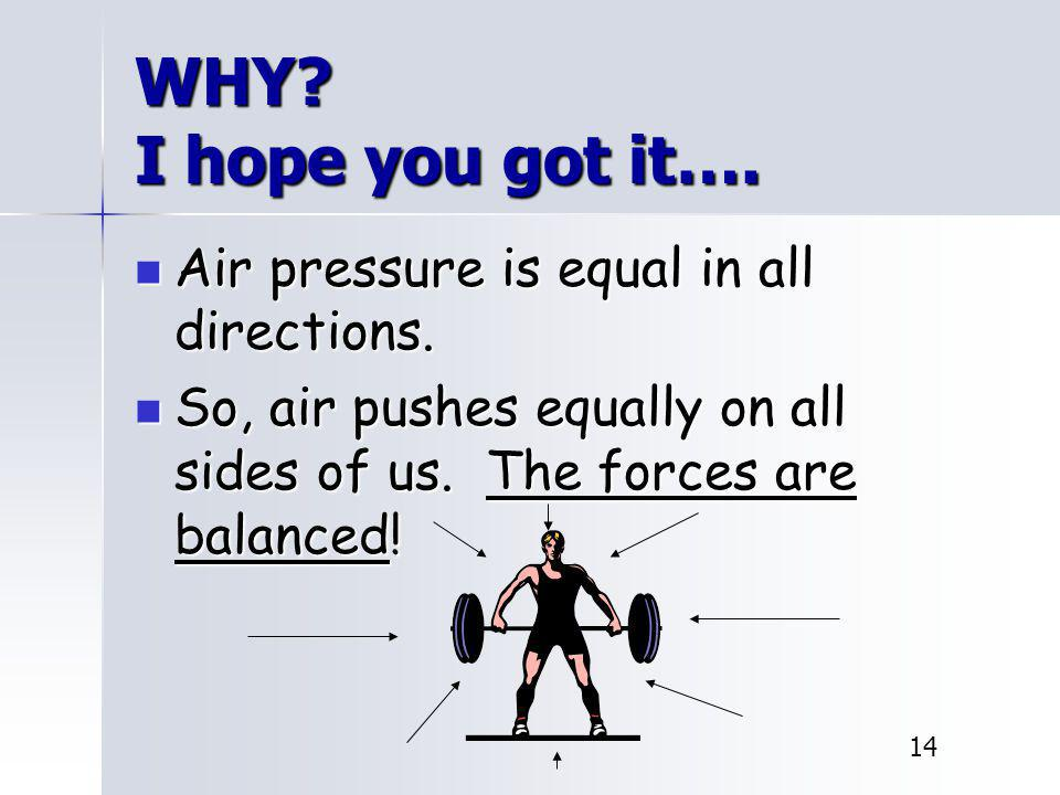 WHY I hope you got it…. Air pressure is equal in all directions.